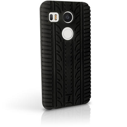 iGadgitz Black Tyre Silicone Gel Skin Case for LG Nexus 5X Rubber Cover + Screen Protector Thumbnail 4
