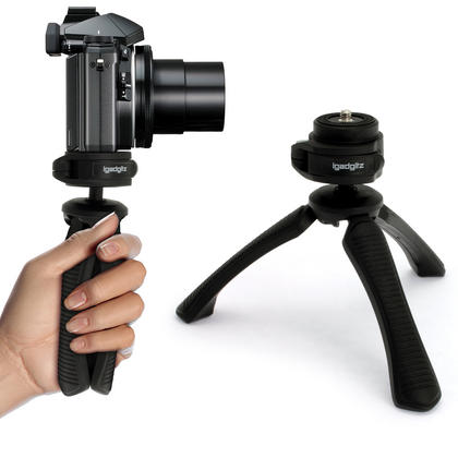 iGadgitz PT310 Mini Lightweight Table Top Stand Tripod and Grip Stabilizer for Digital Camera, DSLR, & Camcorder ? Black Thumbnail 1
