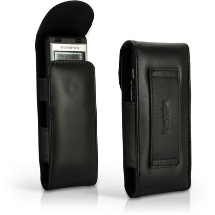 iGadgitz Black Genuine Leather Case Cover for Olympus WS-852 853 Digital Voice Recorder  Thumbnail 1