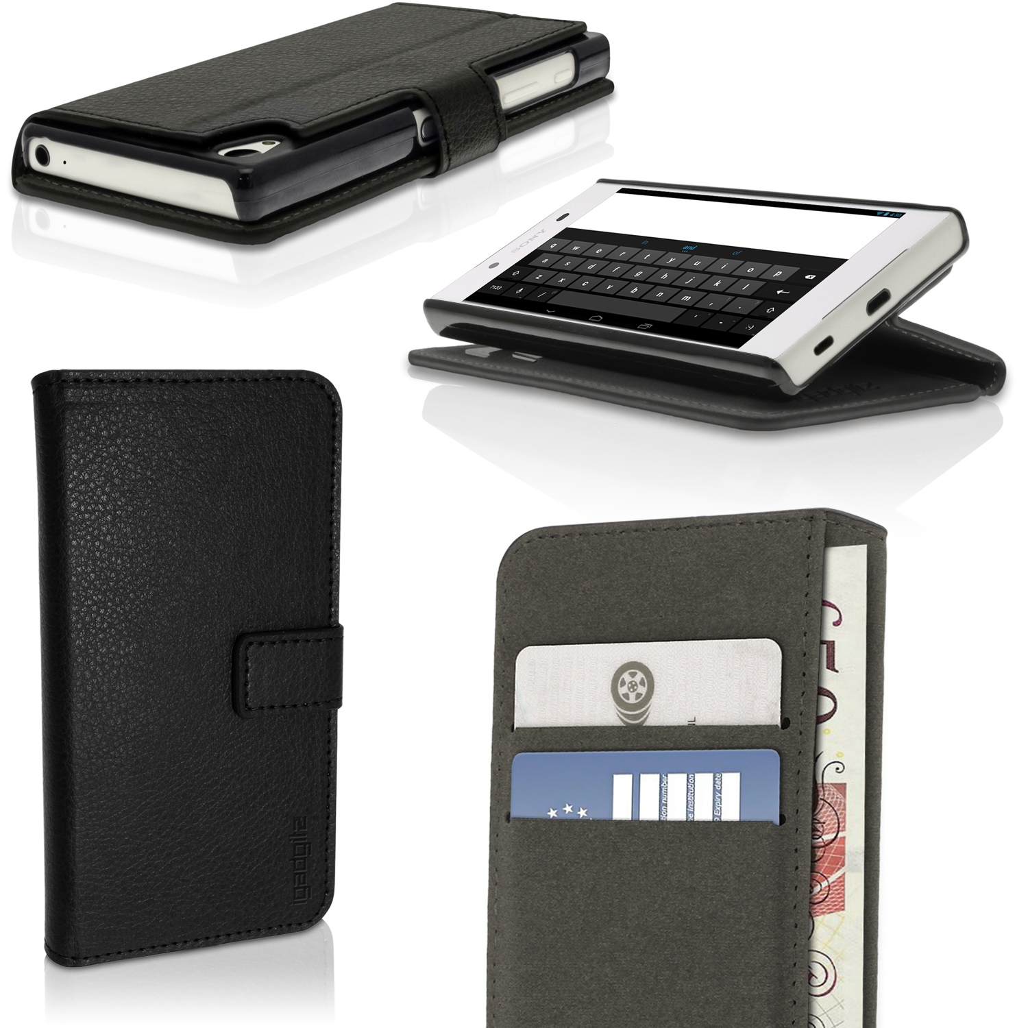 iGadgitz Wallet Flip PU Leather Case Cover for Sony Xperia Z5 E6603 with Card Slots + Stand + Screen Protector