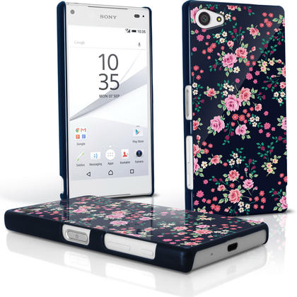 iGadgitz Pink Rose Floral Pattern PC Hard Case Cover Shell for Sony Xperia Z5 Compact E5803 E5823 + Screen Proctector Thumbnail 1