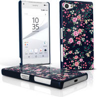 iGadgitz Pink Rose Floral Pattern PC Hard Case Cover Shell for Sony Xperia Z5 Compact E5803 E5823 + Screen Proctector