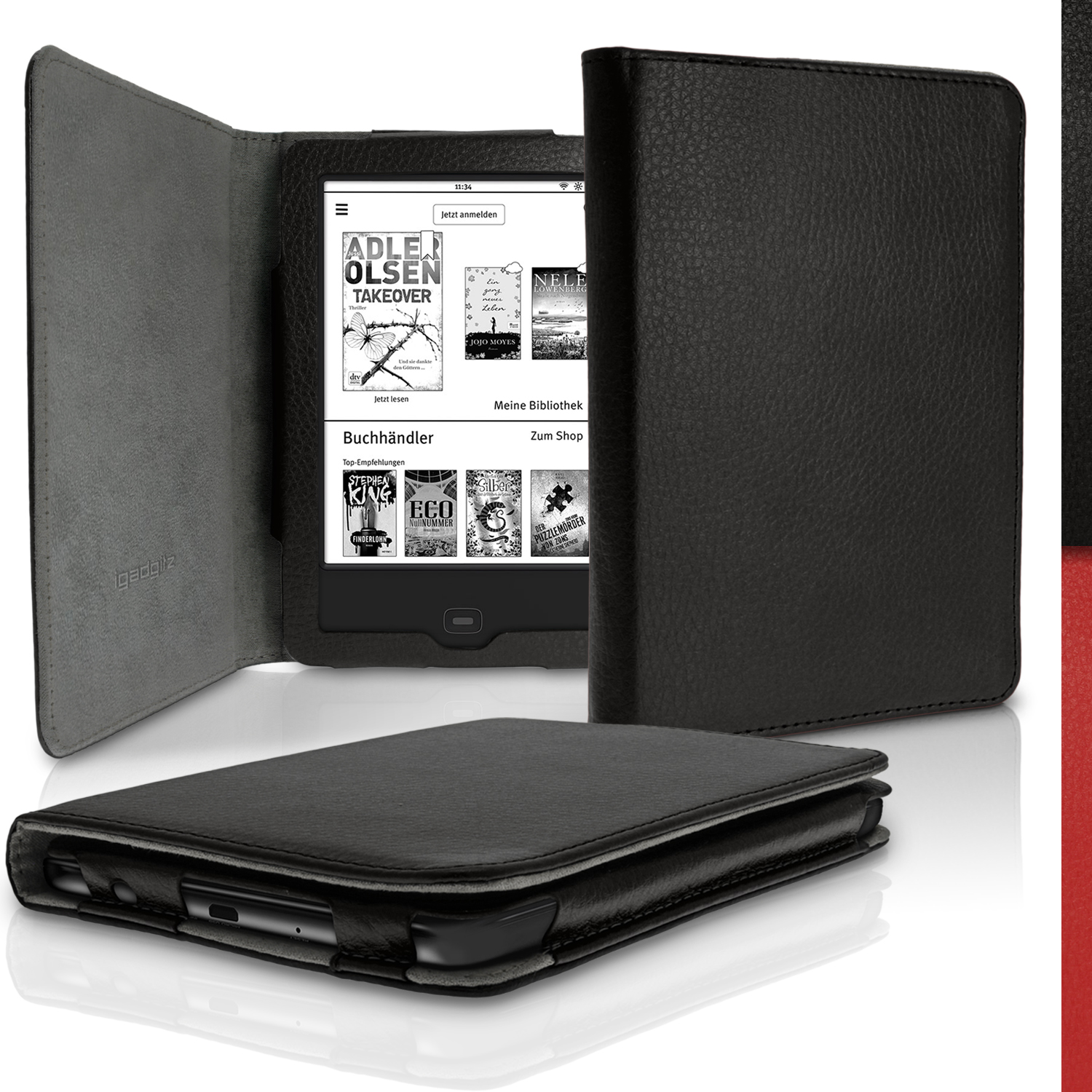 iGadgitz PU Leather Case Cover for Tolino Vision 3 HD, Vision 2 &  Vision 1 with Sleep Wake