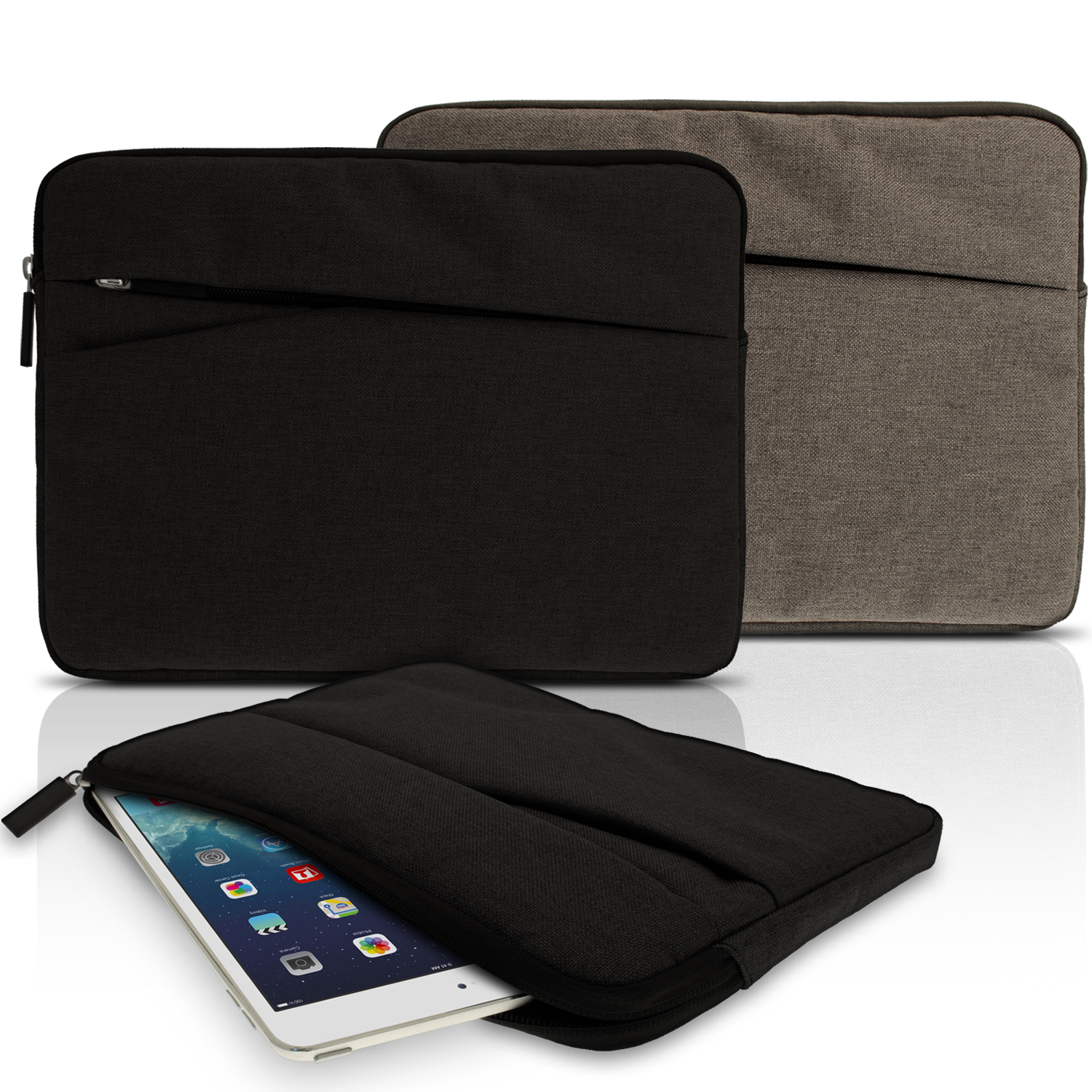 iGadgitz Canvas Fabric Sleeve Pouch Case Cover for 10.1 Inch Tablets (Apple iPad Acer Asus LG Pad Samsung Sony etc)