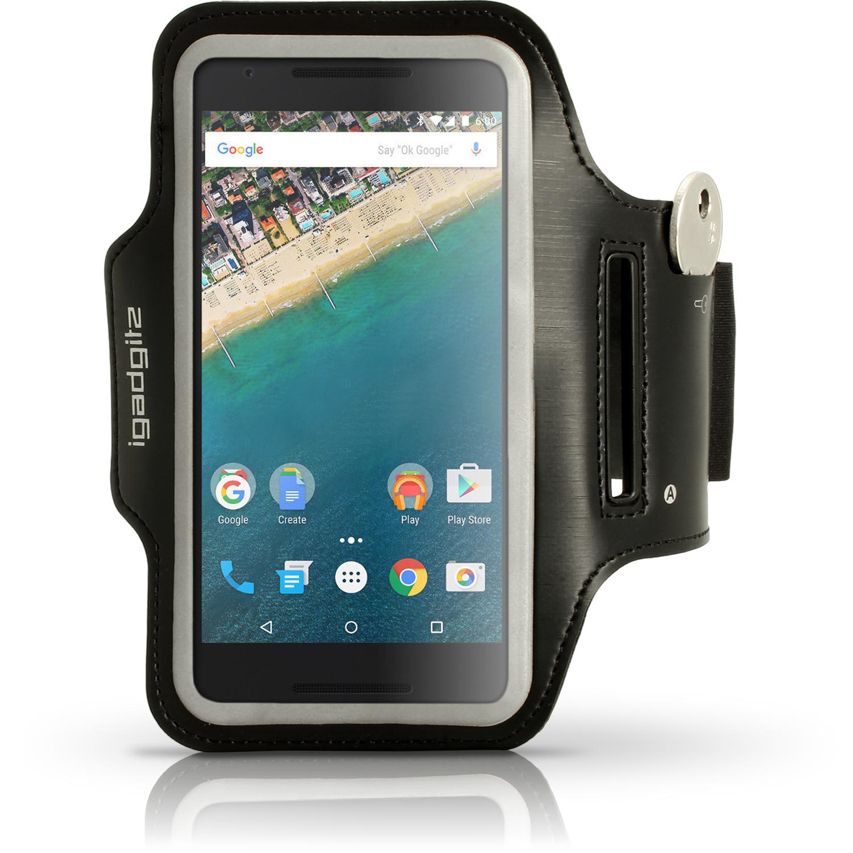 iGadgitz Reflective Anti-Slip Sports Jogging Gym Armband for LG Nexus 5X 2015 with Key Slot