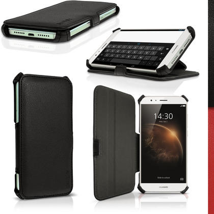 iGadgitz Premium Folio Black PU Leather Case Cover for Huawei G8 with Multi-Angle Viewing Stand + Screen Protector Thumbnail 1