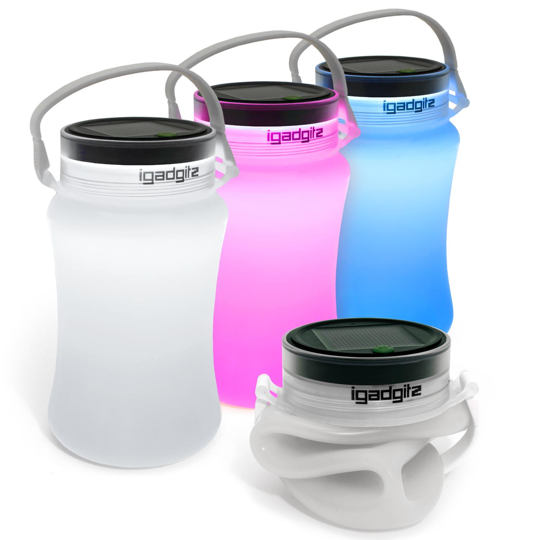 iGadgitz Lumin Solar Glow 100lm USB Rechargeable & Solar LED Lantern Waterproof Storage Bottle Light + 2 Year Warranty