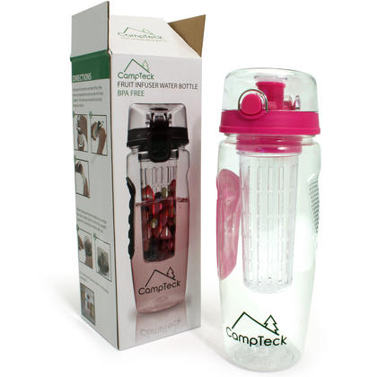 CampTeck 1 Litre 1000ml Fruit Infuser Water Bottle (BPA Free Tritan Plastic) with Leak Proof Lid + Lock & Carry Handle Thumbnail 2