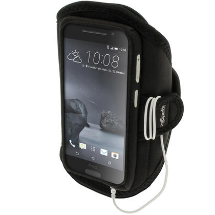 iGadgitz Water Resistant Black Sports Jogging Gym Armband for HTC One A9 (2015) Thumbnail 1