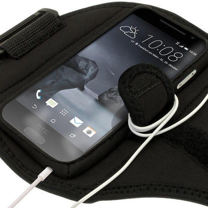 iGadgitz Water Resistant Black Sports Jogging Gym Armband for HTC One A9 (2015) Thumbnail 3