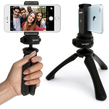 iGadgitz PT310 Mini Table Top Stand Tripod Grip Stabilizer + Universal Smartphone Holder Mount Bracket Adapter ? Black Thumbnail 1