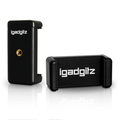 iGadgitz PT310 Mini Table Top Stand Tripod Grip Stabilizer + Universal Smartphone Holder Mount Bracket Adapter ? Black Thumbnail 2
