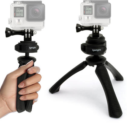 iGadgitz PT310 Mini Table Top Stand Tripod and Grip Stabilizer + Adaptor Mount for GoPro Hero6 Black, Fusion, Hero5 Black, Hero5 Session, Hero4, Hero3+, Hero3, Hero2, Hero1, Hero Session Thumbnail 1