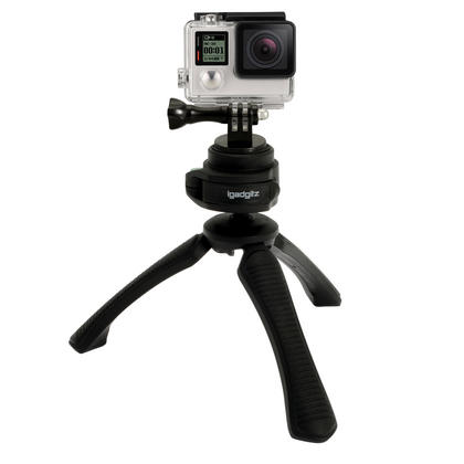 iGadgitz PT310 Mini Table Top Stand Tripod and Grip Stabilizer + Adaptor Mount for GoPro Hero6 Black, Fusion, Hero5 Black, Hero5 Session, Hero4, Hero3+, Hero3, Hero2, Hero1, Hero Session Thumbnail 2