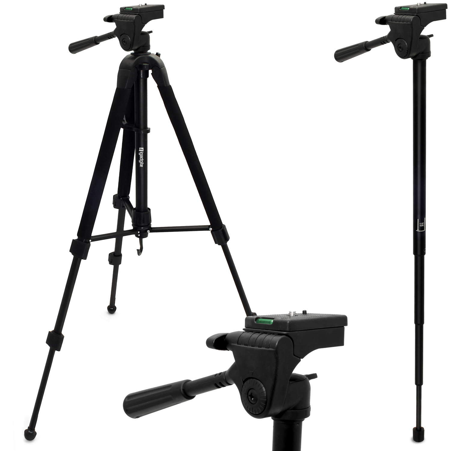 """iGadgitz 150cm (59"""") Extendable 2 in 1 Combined Aluminium Tripod and Monopod Stand for Camera and Camcorders ? Black"""