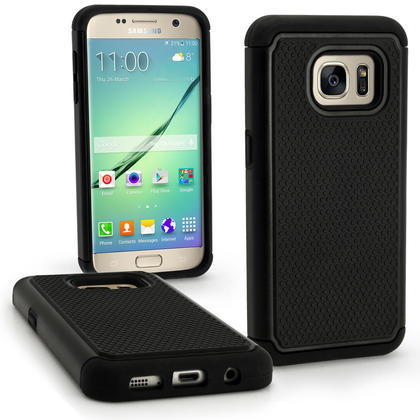 iGadgitz Hard PC Back Shell Cover & Silicone Bumper Case for Samsung Galaxy S7 SM-G930 + Screen Protector Thumbnail 1