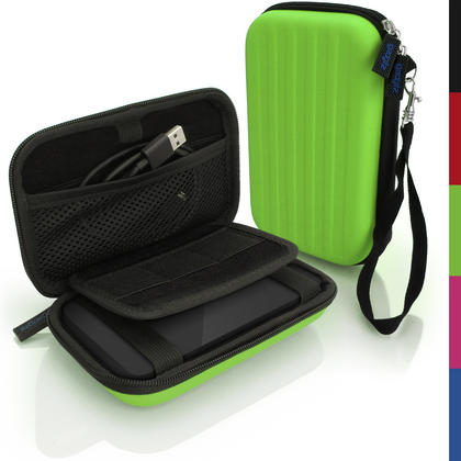 iGadgitz Green EVA Hard Travel Case Cover for Portable External Hard Drives (Internal Dimensions: 142 x 80.6 x 21.6mm) Thumbnail 1