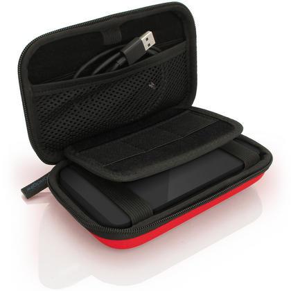 iGadgitz Red EVA Hard Travel Case Cover for Portable External Hard Drives (Internal Dimensions: 160 x 93.5 x 21.5mm) Thumbnail 3