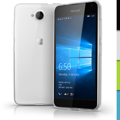iGadgitz Transparent Clear Glossy TPU Gel Skin Case Cover for Microsoft Lumia 650 + Screen Protector Thumbnail 1