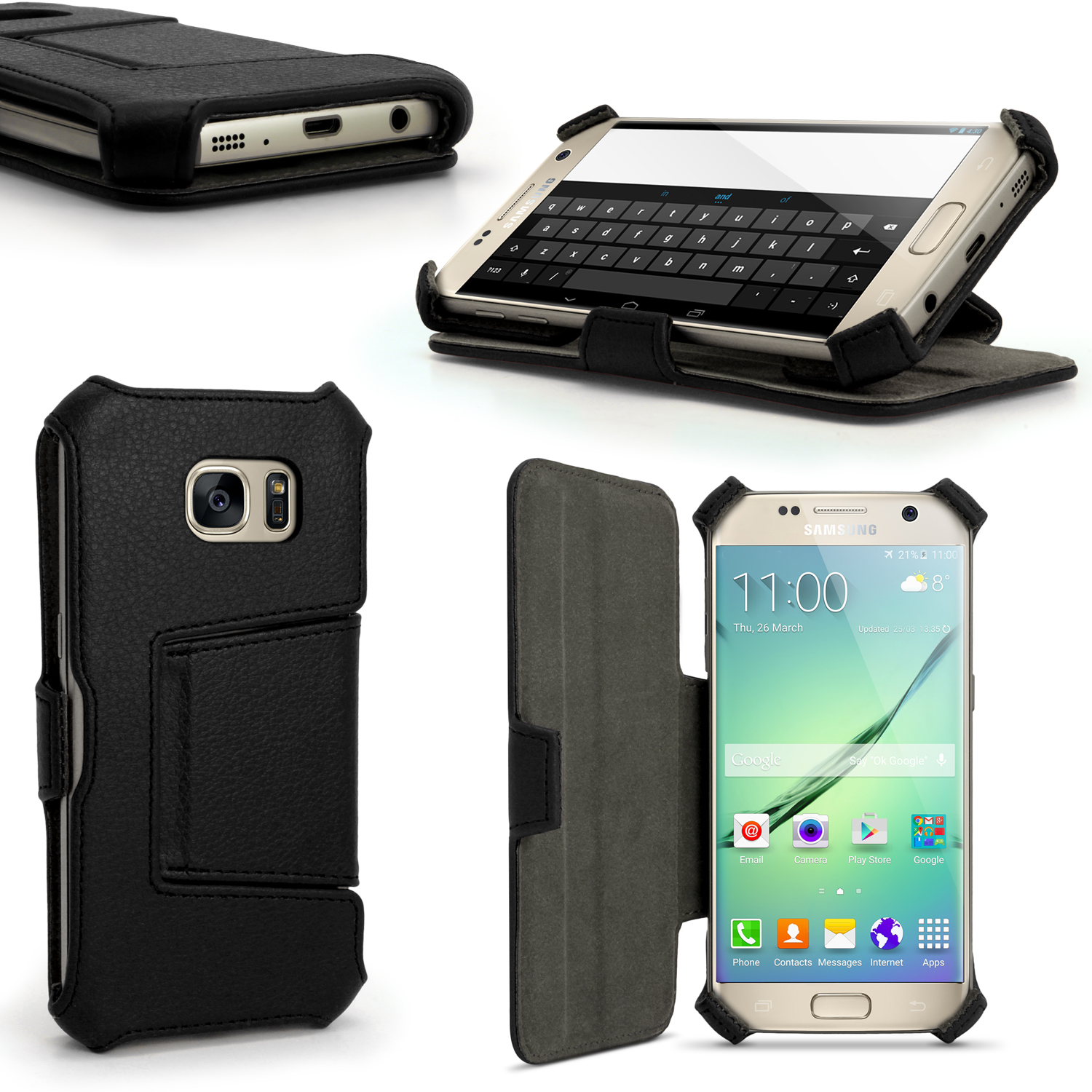 iGadgitz Premium Folio Black PU Leather Case Cover for Samsung Galaxy S7 SM-G930 with Stand + Screen Protector