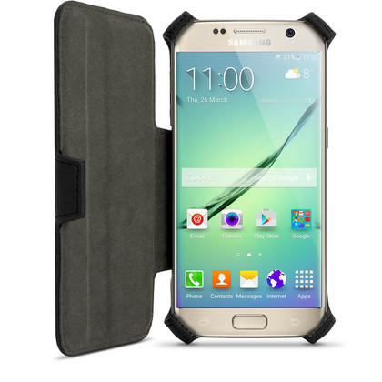 iGadgitz Premium Folio Black PU Leather Case Cover for Samsung Galaxy S7 SM-G930 with Stand + Screen Protector Thumbnail 3
