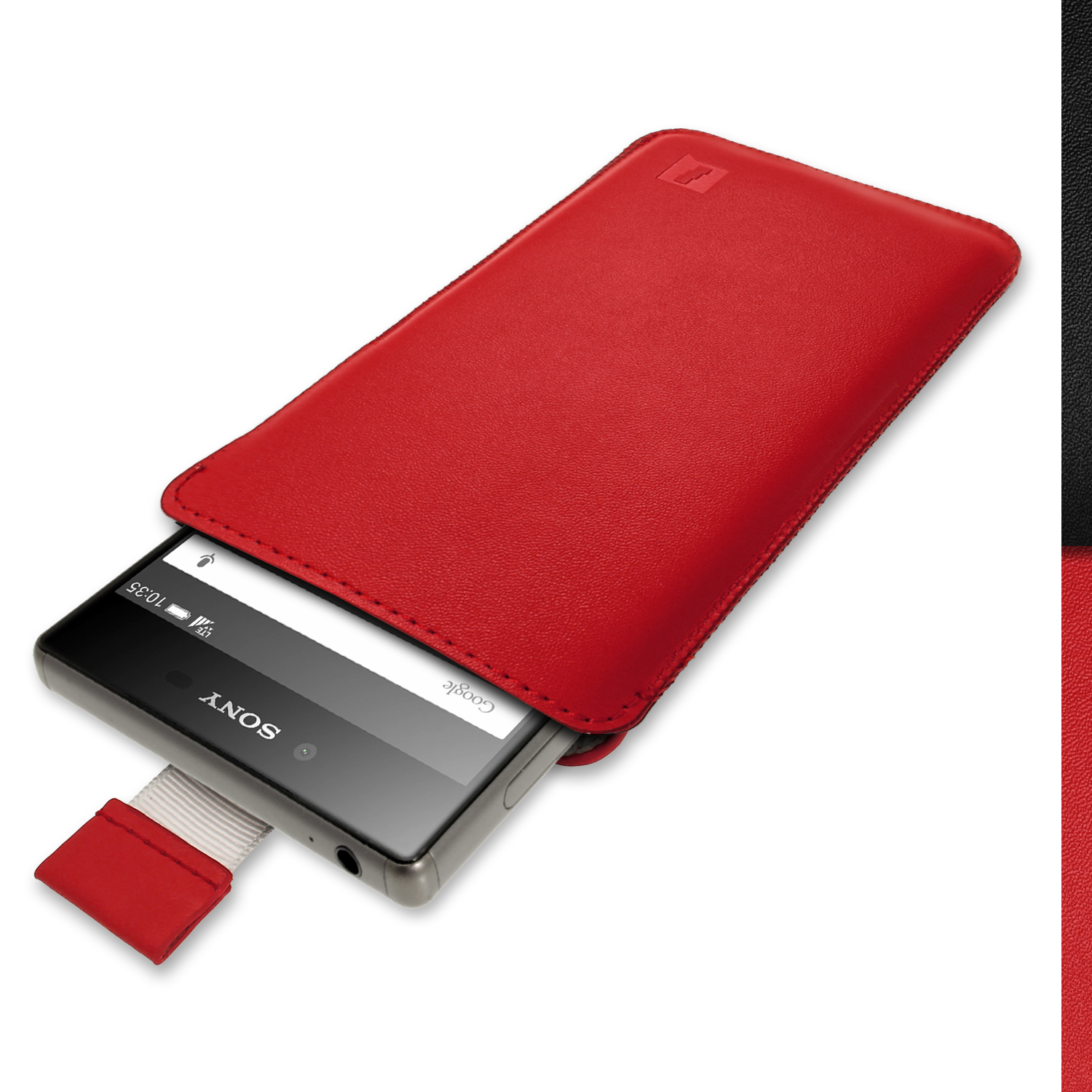 iGadgitz Red Leather Pouch Sleeve Case Cover for Sony Xperia Z3 D6603 & Sony Xperia Z3+ E6553