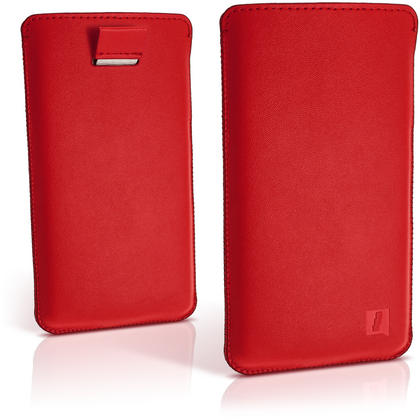 iGadgitz Red Leather Pouch Sleeve Case Cover for Sony Xperia Z3 D6603 & Sony Xperia Z3+ E6553 Thumbnail 2