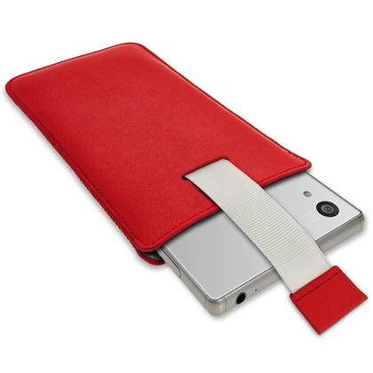iGadgitz Red Leather Pouch Sleeve Case Cover for Sony Xperia Z3 D6603 & Sony Xperia Z3+ E6553 Thumbnail 3