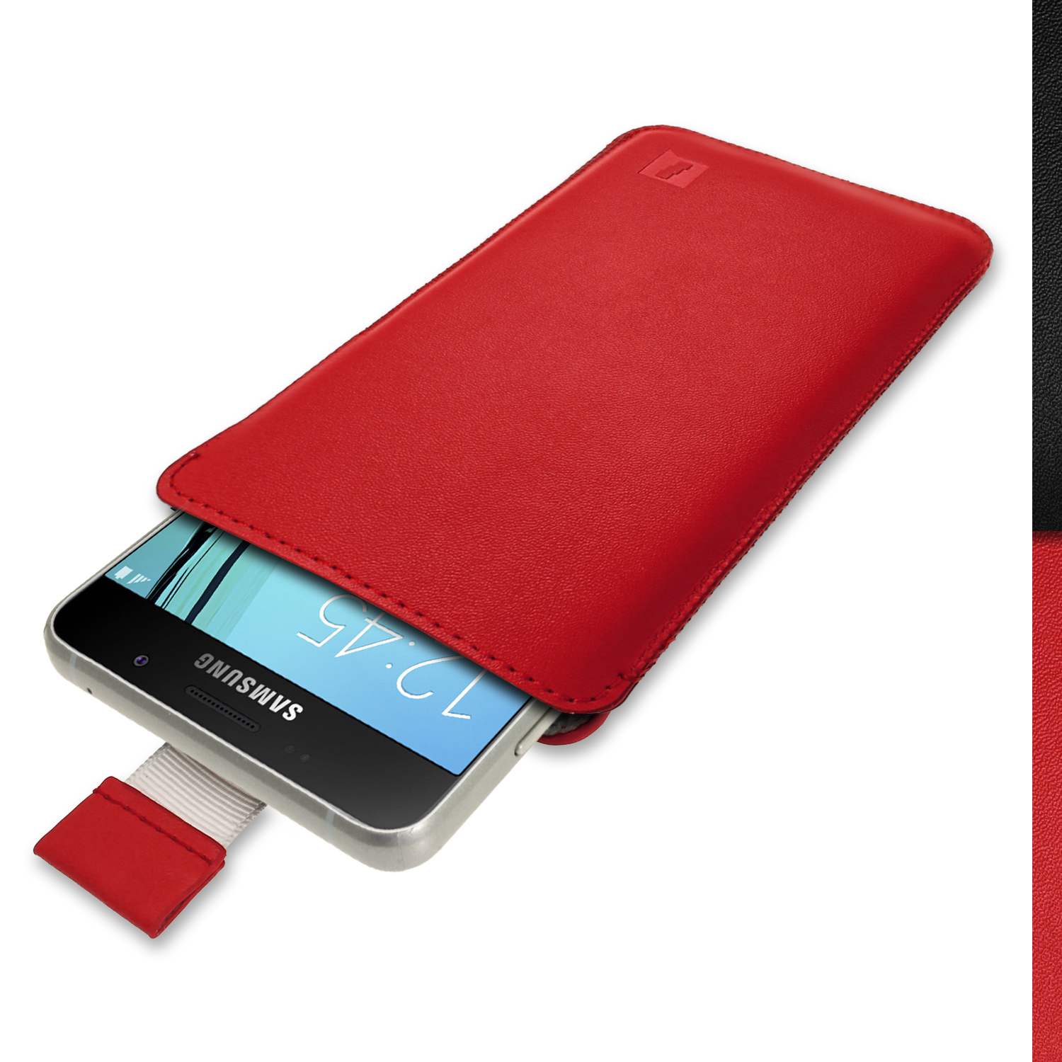iGadgitz Red Leather Pouch Sleeve Case Cover for Samsung Galaxy A5 SM-A510 (2016)