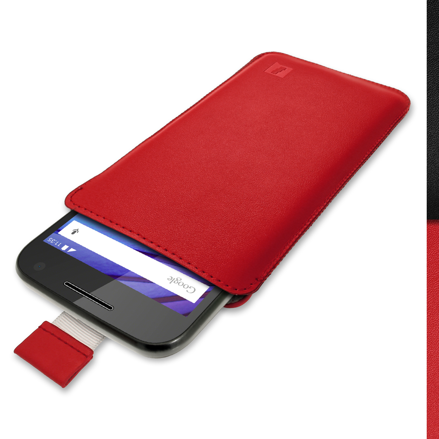 iGadgitz Red Leather Pouch Sleeve Case Cover for Motorola Moto G 3rd Generation 2015 XT1540