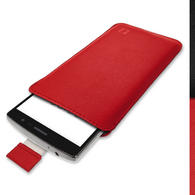 iGadgitz Red Leather Pouch Sleeve Case Cover for LG G4 Beat H735 (G4s)