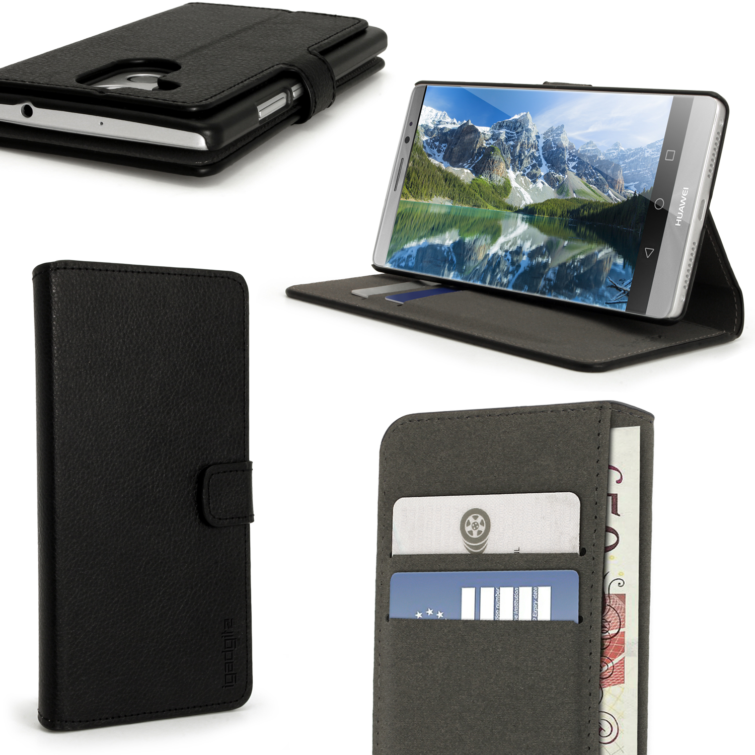 iGadgitz Premium Wallet Flip PU Leather Case Cover for Huawei Mate 8 With Stand + Card Slots + Screen Protector
