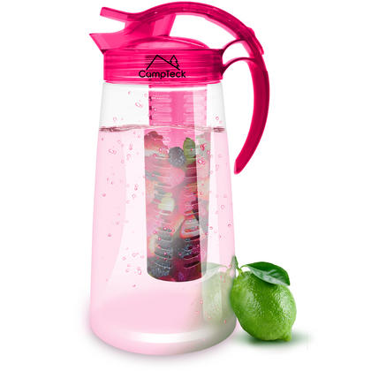 CampTeck 2 Litre 2000ml Fruit Infuser Water Jug Pitcher (BPA Free Tritan Plastic) with Leak Proof, Air Tight Lid - Pink Thumbnail 1