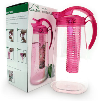 CampTeck 2 Litre 2000ml Fruit Infuser Water Jug Pitcher (BPA Free Tritan Plastic) with Leak Proof, Air Tight Lid - Pink Thumbnail 2