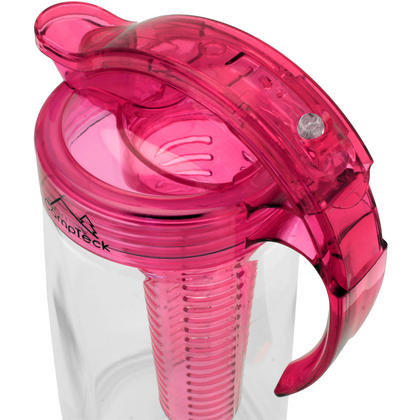 CampTeck 2 Litre 2000ml Fruit Infuser Water Jug Pitcher (BPA Free Tritan Plastic) with Leak Proof, Air Tight Lid - Pink Thumbnail 4