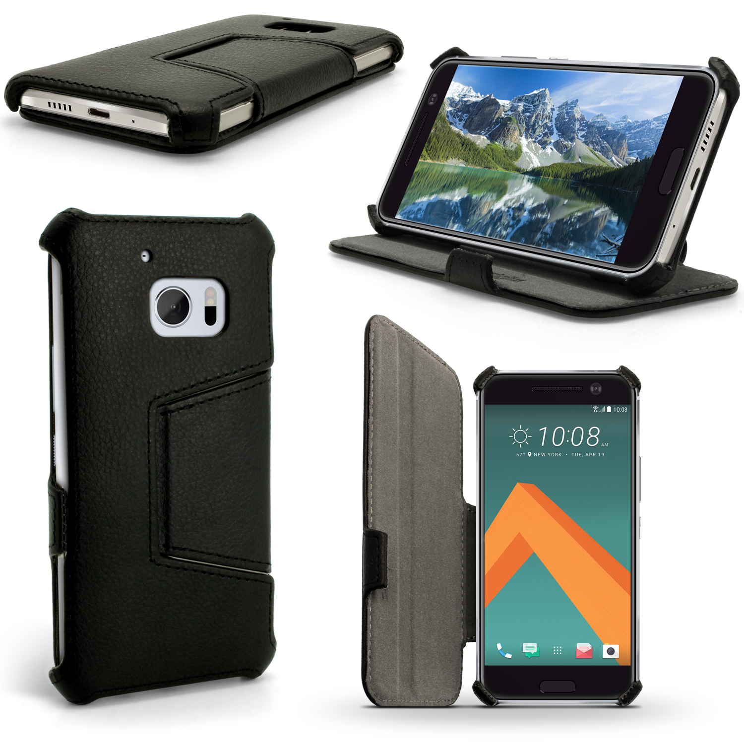 iGadgitz Premium Folio PU Leather Case Cover for HTC 10 (2016) with Stand + Screen Protector