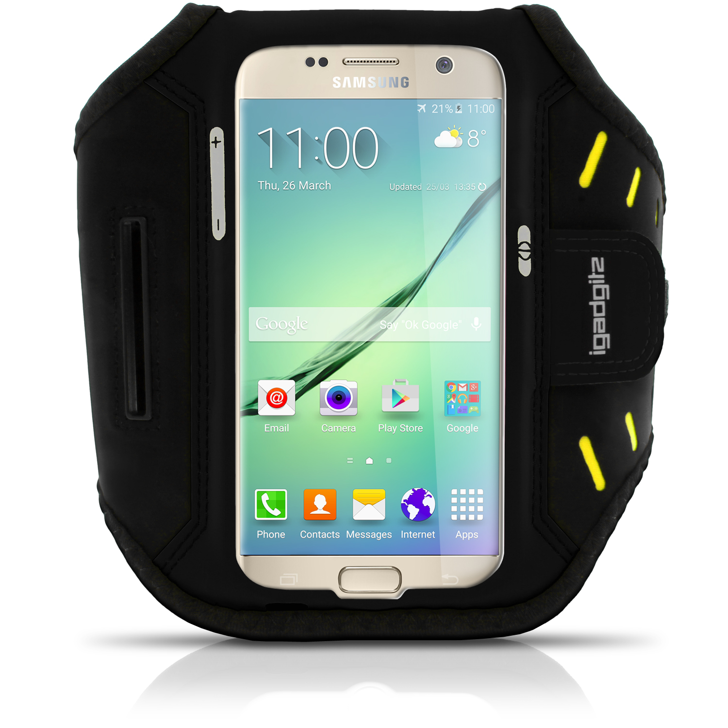 iGadgitz Water Resistant Lightweight Neoprene Sports Jogging Gym Armband for Samsung Galaxy S7 SM-G930 with Key Slot