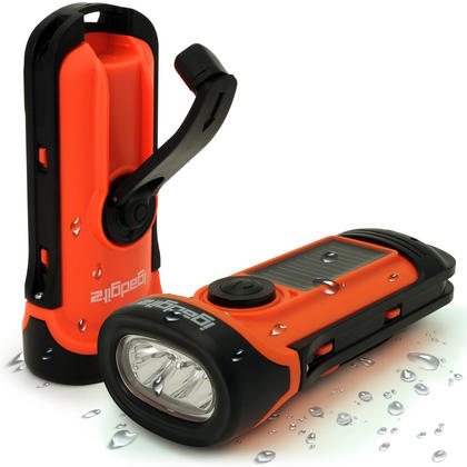 iGadgitz Xtra 5m Waterproof Eco Rechargeable Solar & Hand Crank LED Torch Flashlight with 5 Year Warranty Thumbnail 1