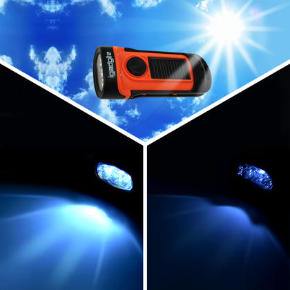 iGadgitz Xtra 5m Waterproof Eco Rechargeable Solar & Hand Crank LED Torch Flashlight with 5 Year Warranty Thumbnail 4