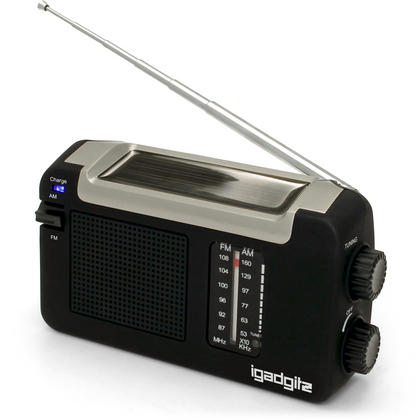 iGadgitz Xtra Wind Up, Solar, & USB Rechargeable Portable AM/FM Radio with 3 Year Warranty Thumbnail 1