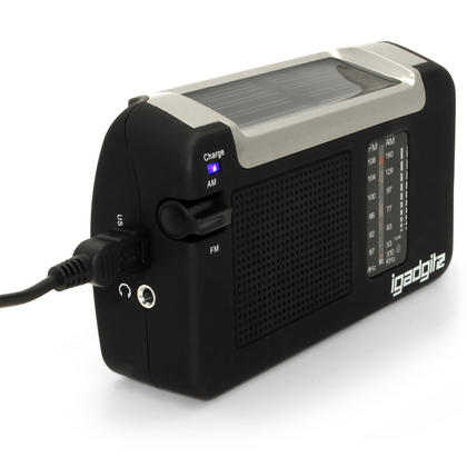 iGadgitz Xtra Wind Up, Solar, & USB Rechargeable Portable AM/FM Radio with 3 Year Warranty Thumbnail 4