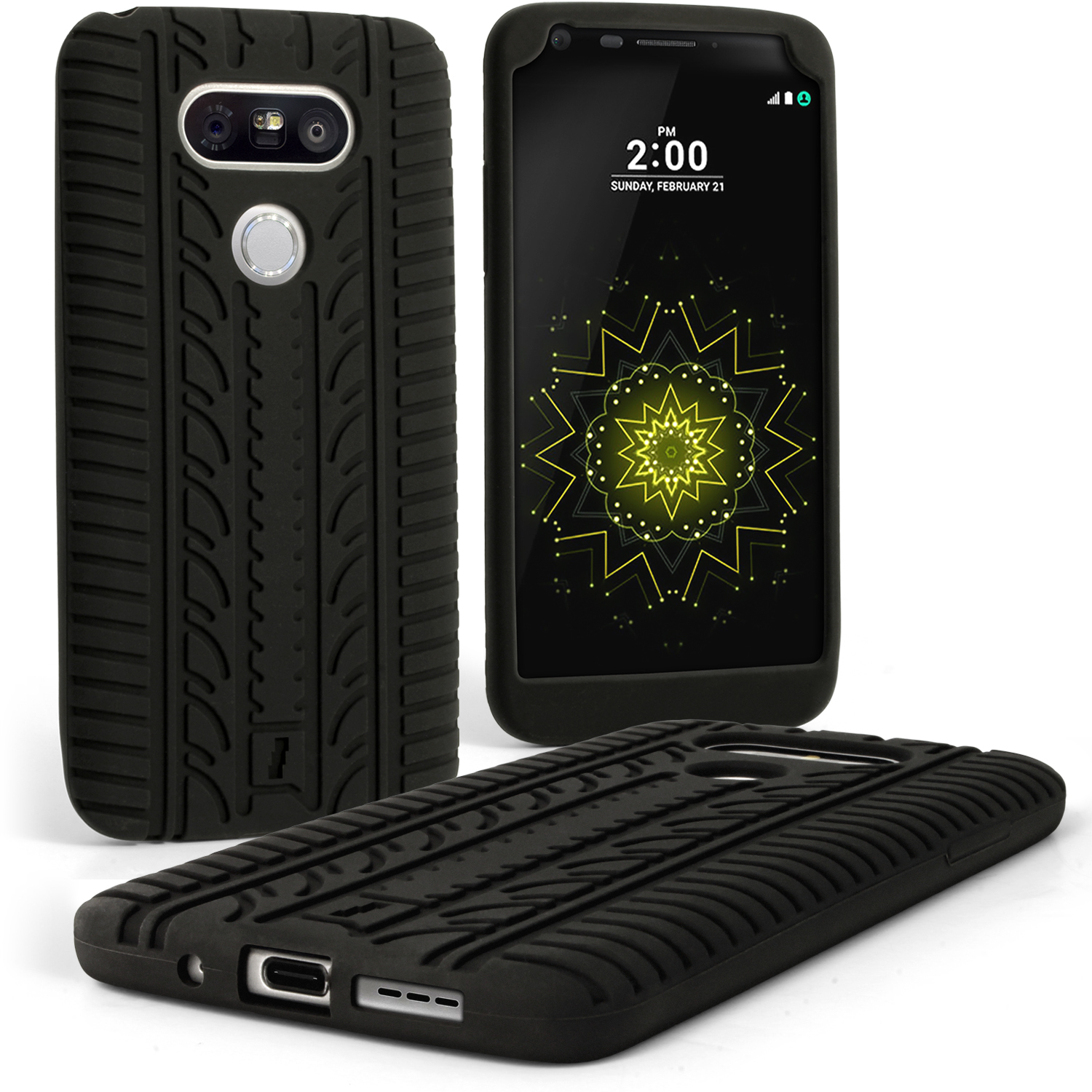 iGadgitz Black Tyre Silicone Gel Skin Case for LG G5 H850 H840 Rubber Cover + Screen Protector