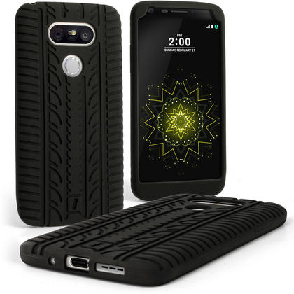 iGadgitz Black Tyre Silicone Gel Skin Case for LG G5 H850 H840 Rubber Cover + Screen Protector Thumbnail 1