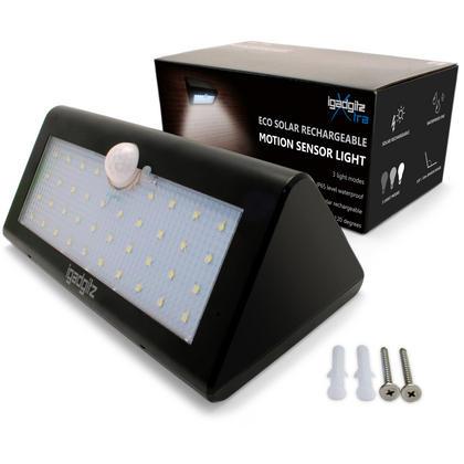 iGadgitz U4686 - 38 LED 600 Lumens Solar PIR Motion Sensor Lights Solar Energy Powered Waterproof Security Light Thumbnail 2