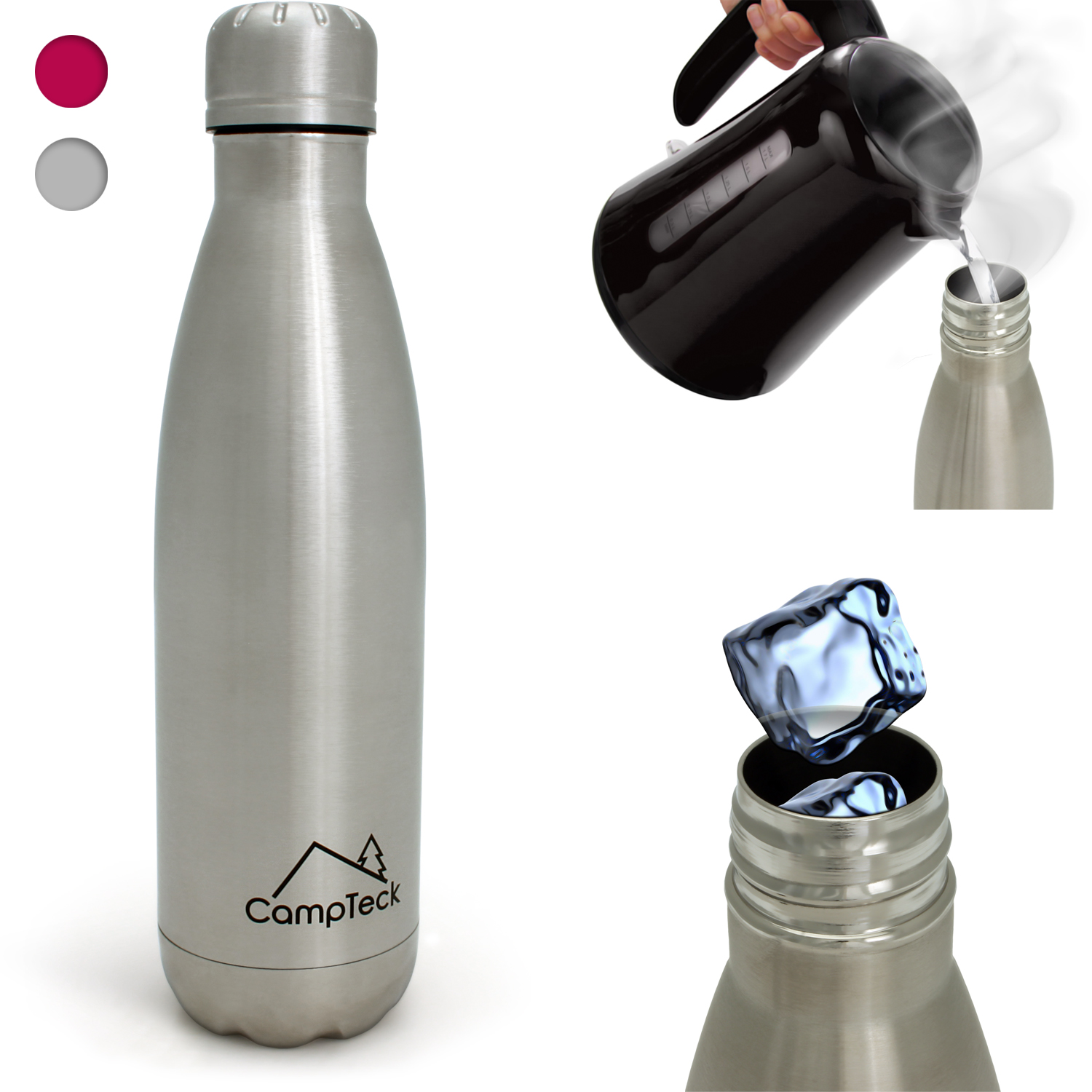 CampTeck 500ml Insulated Stainless Steel Water Bottle Double Walled Vacuum Drinks Sports Bottle - Silver