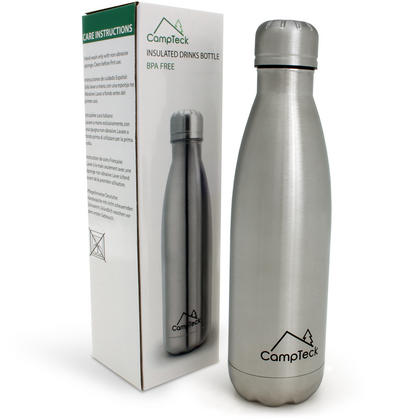 CampTeck 500ml Insulated Stainless Steel Water Bottle Double Walled Vacuum Drinks Sports Bottle - Silver Thumbnail 2