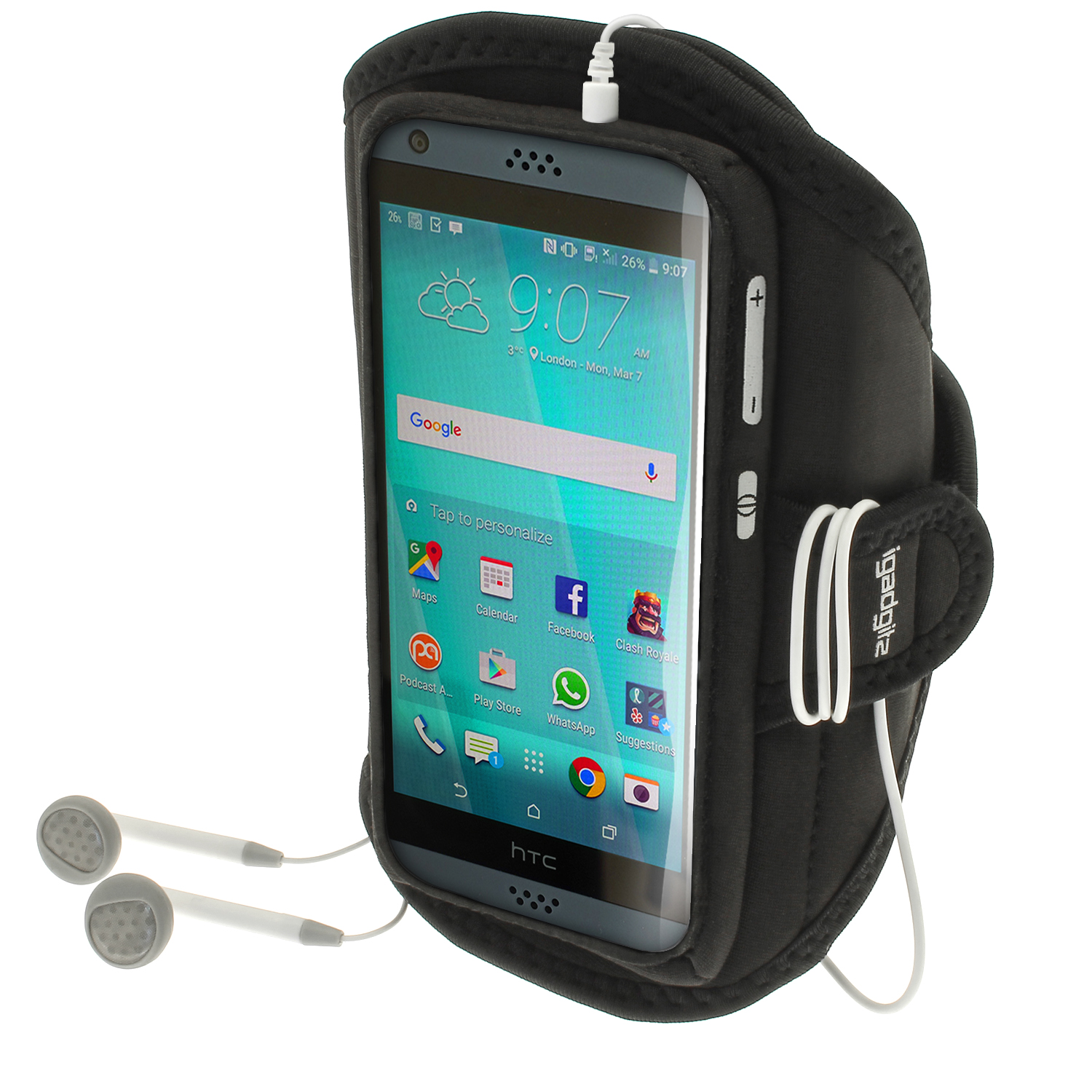 iGadgitz Water Resistant Running Jogging Gym Sports Armband for HTC Desire 530