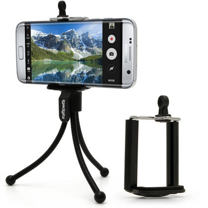 iGadgitz Black Flexible Mini Table Top Tripod with Pocket Clip + Standard Smartphone Holder Mount Bracket Adapter Thumbnail 1