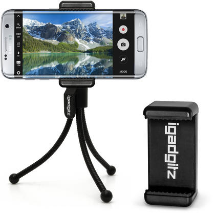 iGadgitz Black Flexible Mini Table Top Tripod with Pocket Clip + Premium Smartphone Holder Mount Bracket Adapter Thumbnail 1