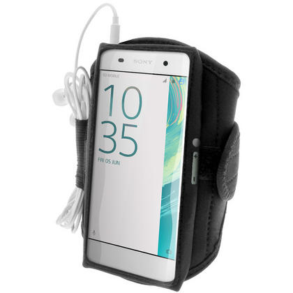 iGadgitz Water Resistant Black Sports Jogging Gym Armband for Sony Xperia XA F3111 (2016) Thumbnail 1